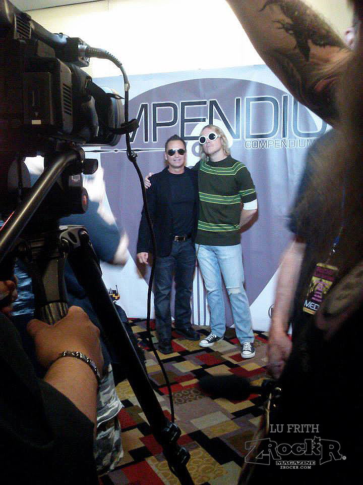 """Arms of America's """"Bono"""" with  Smells Like Nirvana's """"Kurt""""  on the red carpet at Compendium"""
