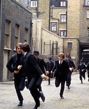 Rare colour photo of shooting the movie- the being chased by cops scene.