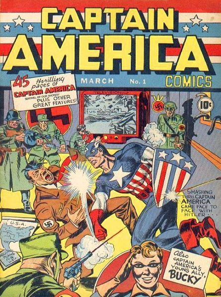 Joe Simon's brain child, Captain America, first started defending the red, white, and blue back in 1941 with the release of the very first Captain America comic book!