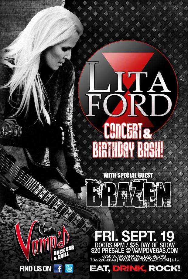 Lita Ford played Count's Vamp'd on Friday, September 19, 2014, with Brazen opening.