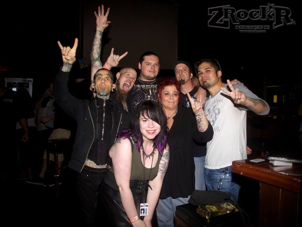 Drowning Pool with GonZo in tow went to see friends Gemini Syndrome and ran into  ZRockR staffers- writer Marcus Miller and photographer Christina Rosenfeld ( who were there covering  that show- we are everywhere you know! ) as well as 'Mama Metal' and head of Hiers Artistic Visions Entertainment Network- Nicki Heirs - at LVCS after their show!