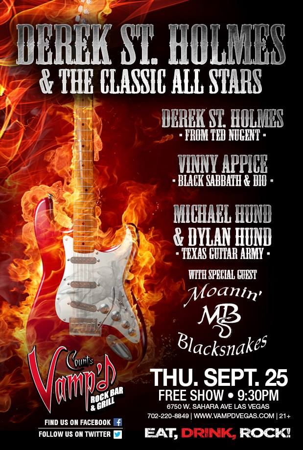 Derek St. Holmes and the Classic All Stars played Count's Vamp'd on Thursday, September 25, 2014. St. Holmes' band also features Vinny Appice, and Michael and Dylan Hund.