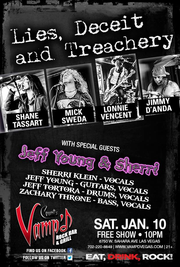 Lies, Deceit and Treachery played Vamp'd on Saturday, January 10, 2015. Jeff Young and Sherri played the opening set.