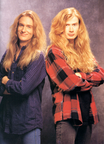 A younger David Ellefson and Dave Mustaine who remain the core of Megadeth.