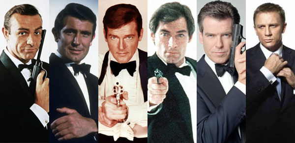 The six actors who have portrayed James Bond in official EON Films productions. From left to right: Sean Connery, George Lazenby, Roger Moore, Timothy Dalton, Pierce Brosnan, and Daniel Craig.