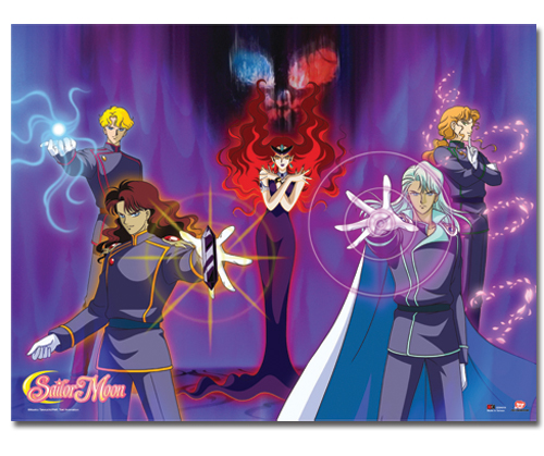 Sailor Moon and her friends must battle the evil Queen Beryl (center) and her generals, the Four Heavenly Kings. From left to right: Jadeite (blond), Nephrite (red hair), Kunzite, and Zoisite.