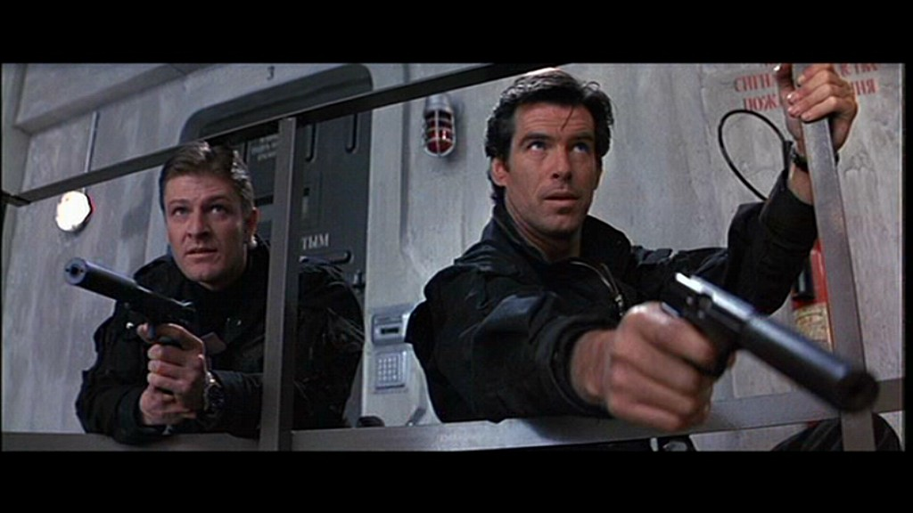 Pierce Brosnan's first James Bond film was 1995's Goldeneye. Pictured on his left is Sean Bean, portraying agent 006, Alec Trevelyan.