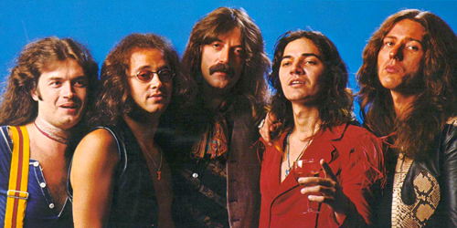 Deep Purple MK IV - Ian Paice, Glenn Hughes, Jon Lord, Tommy Bolin, and David Coverdale.