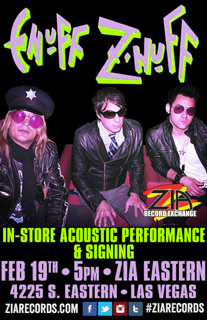 Enuff Z'Nuff did an in-store acoustic performance and signing at Zia Record Exchange's Eastern Avenue location in Las Vegas on February 19, 2015.