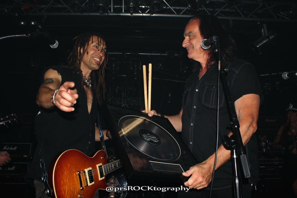 Jason Ebs (left) with Vinny Appice (right).