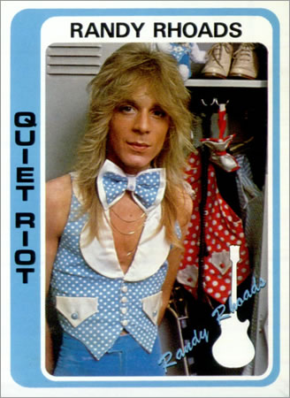 Prior to joining the Ozzy Osbourne Band, Randy Rhoads appeared on Quiet Riot's first two records, released only in japan. This photo comes from the back sleeve of the Quiet Riot II LP, though that outfit is not exactly doing him any favors.