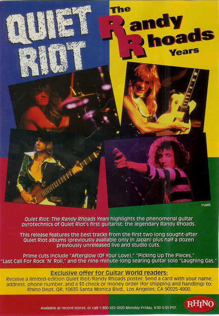 The Randy Rhoads Years was a CD released in America in 1993, containing some tracks from the two Rhoads Riot records (with rerecordings and remixings) plus some unreleased material.