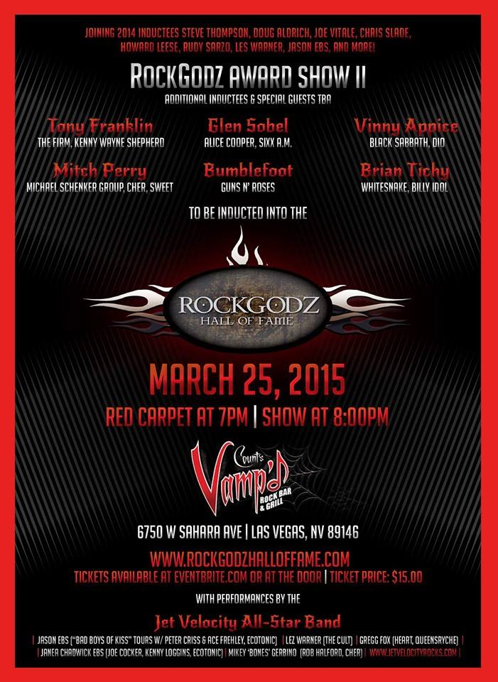 March 25, 2015 was the second RockGodz Hall of Fame induction ceremony, held at Vamp'd.