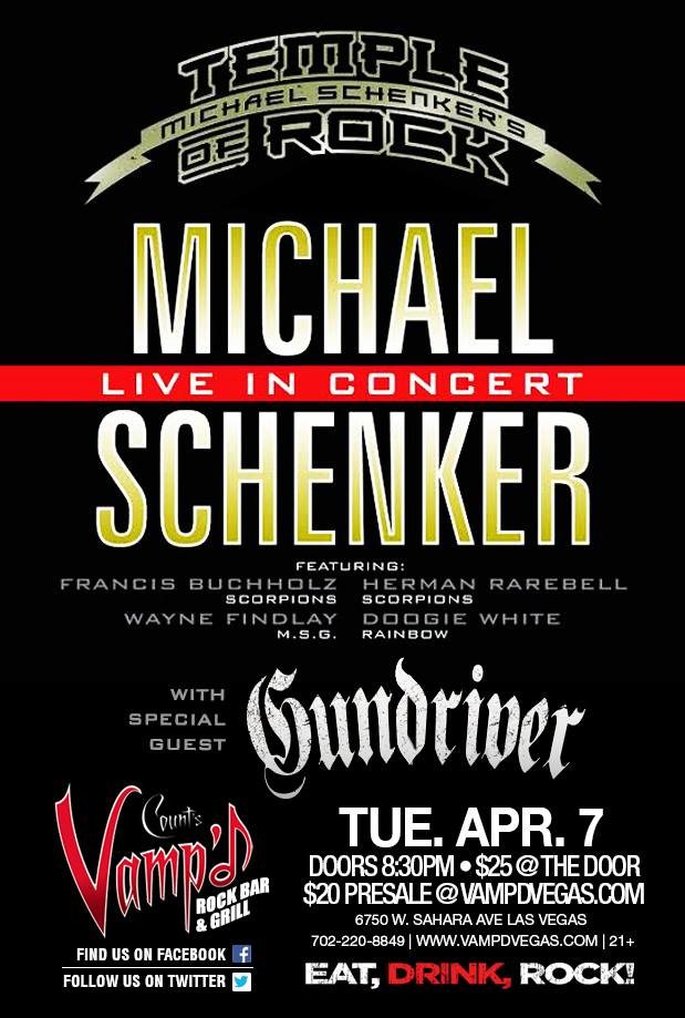 Michael Schenker's Temple of Rock played Vamp'd on April 7, 2015.