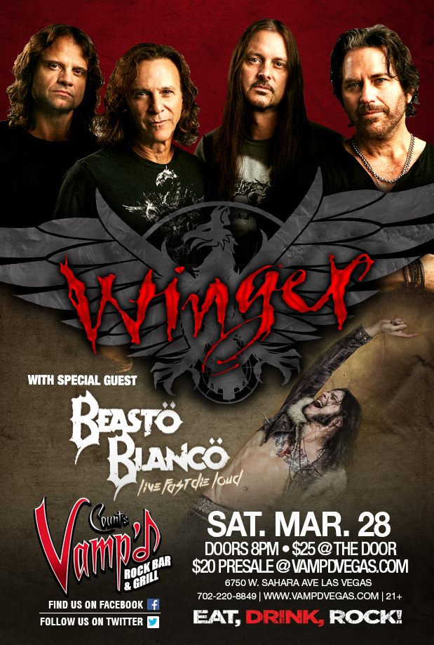 Saturday, March 28 marked Winger's show at Vamp'd with support act Beasto Blanco.