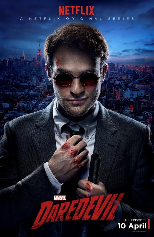Charlie Cox stars as Matt Murdock/Daredevil, the Man Without Fear, blinded in an accident in his younger years but having gotten his other senses enhanced as a result of said accident.