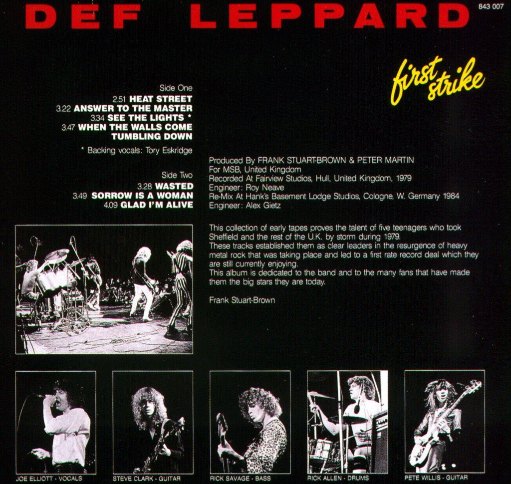 Many demos from the band later were released on unofficial bootlegs. First Strike is amongst the most popular. Roughly half of these songs were never officially recorded by the band, while the others were rerecorded for On Through the Night. None of the material on this bootleg ever got an official CD release.