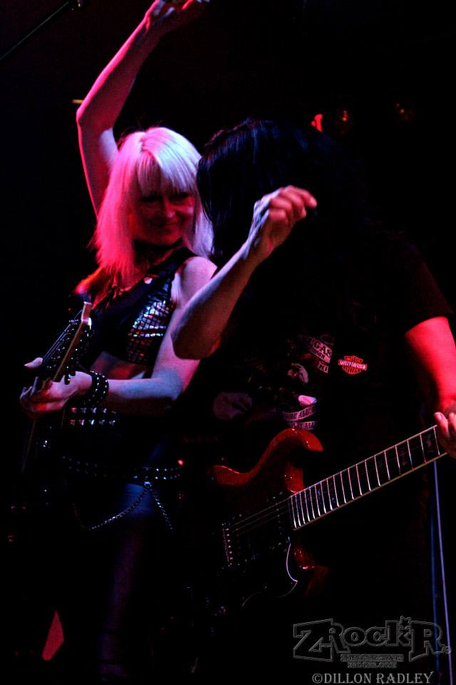 "Girlschool vocalist Kim McAuliffe and lead guitarist Jackie ""Jax"" Chambers."