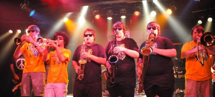 The Horn Section from the Clark High School band here in Vegas onstage at the Imagine show at Vamp'd last year.