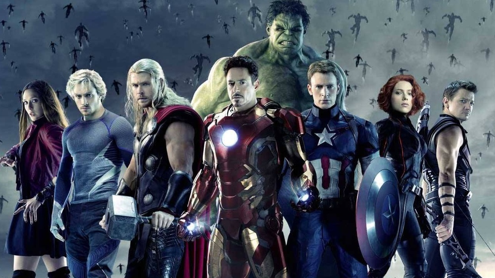 Old and new heroes unite in an epic, cinematic battle. From left: Scarlet Witch, Quicksilver, Thor, Iron Man, Hulk, Captain America, Black Widow, and Hawkeye.