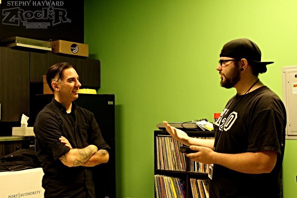Anti-Flag's Chris #2 with ZRockR's Vinnie Corcoran.