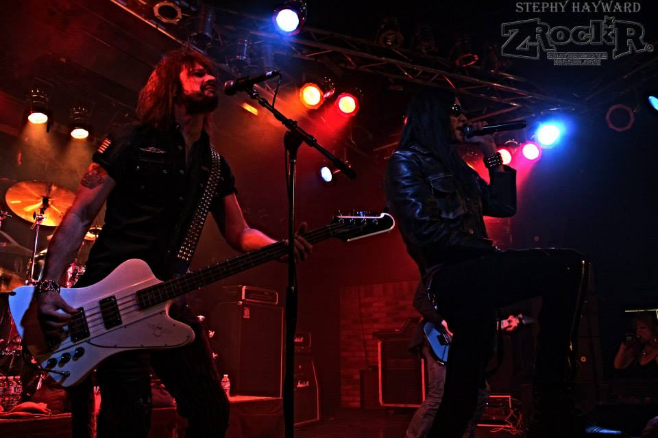 Vocalist Joshua Alan and bassist Scott Griffin perform in Bobby Blotzer's RATT Experience.