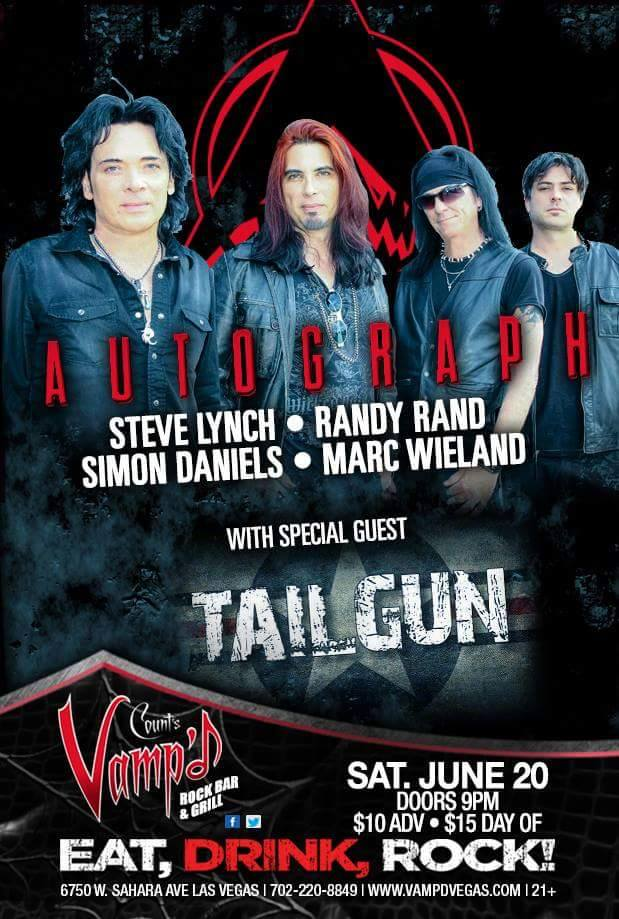 Autograph played Count's Vamp'd on Saturday, June 20, 2015. TailGun was the support act for the evening.