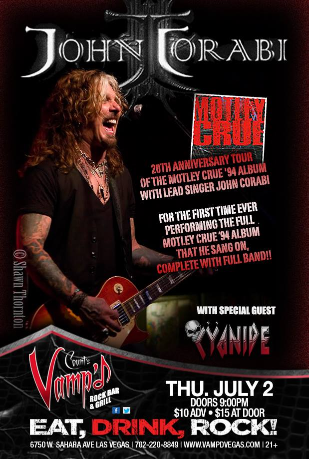 John Corabi played Vamp'd on Thursday, July 2, 2015, with Cyanide opening.