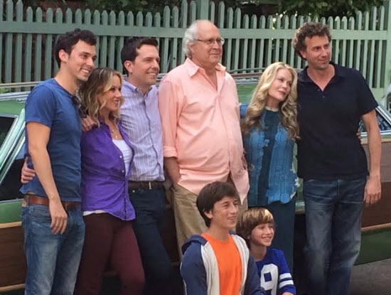 The old and young members of the Griswold clan. Chevy Chase and Beverly D'Angelo reprise their roles of Clark and Ellen Griswold, making them the only actors to appear in all five Vacation films.