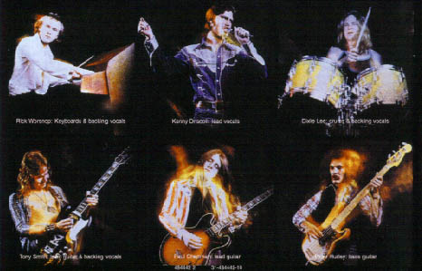 Photo from the rear of the band's first album sleeve. Paul Chapman pictured bottom center.