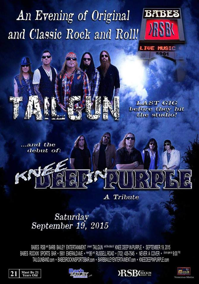Tailgun and Knee Deep in Purple played Babes on Saturday, September 19, 2015.