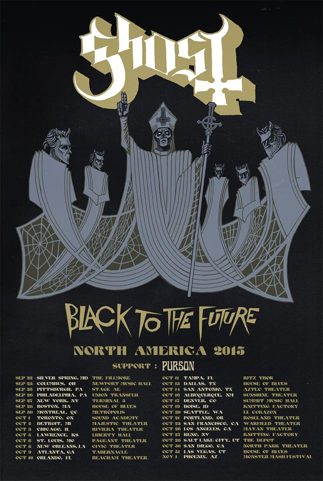 Tour dates to see Ghost on their North American Black to the Future tour!