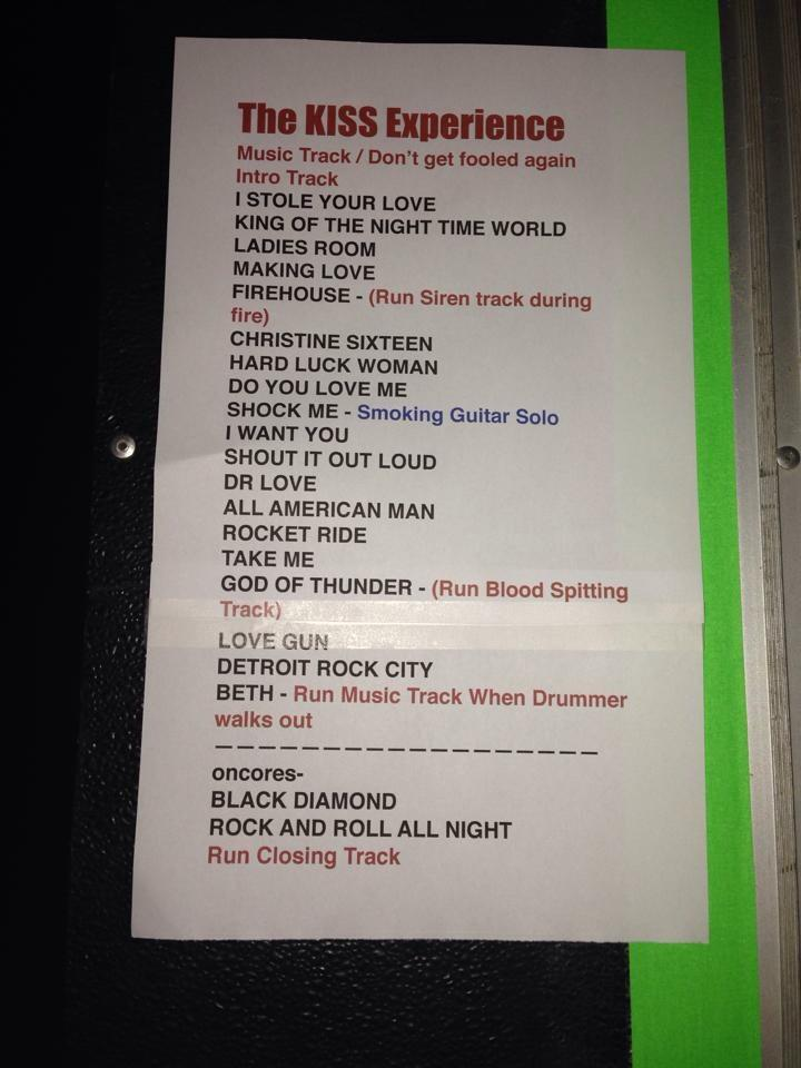 Setlist for this evening of rock and roll.