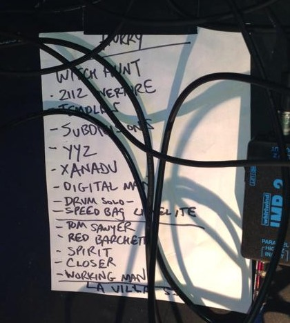 Setlist for the Hurry set.