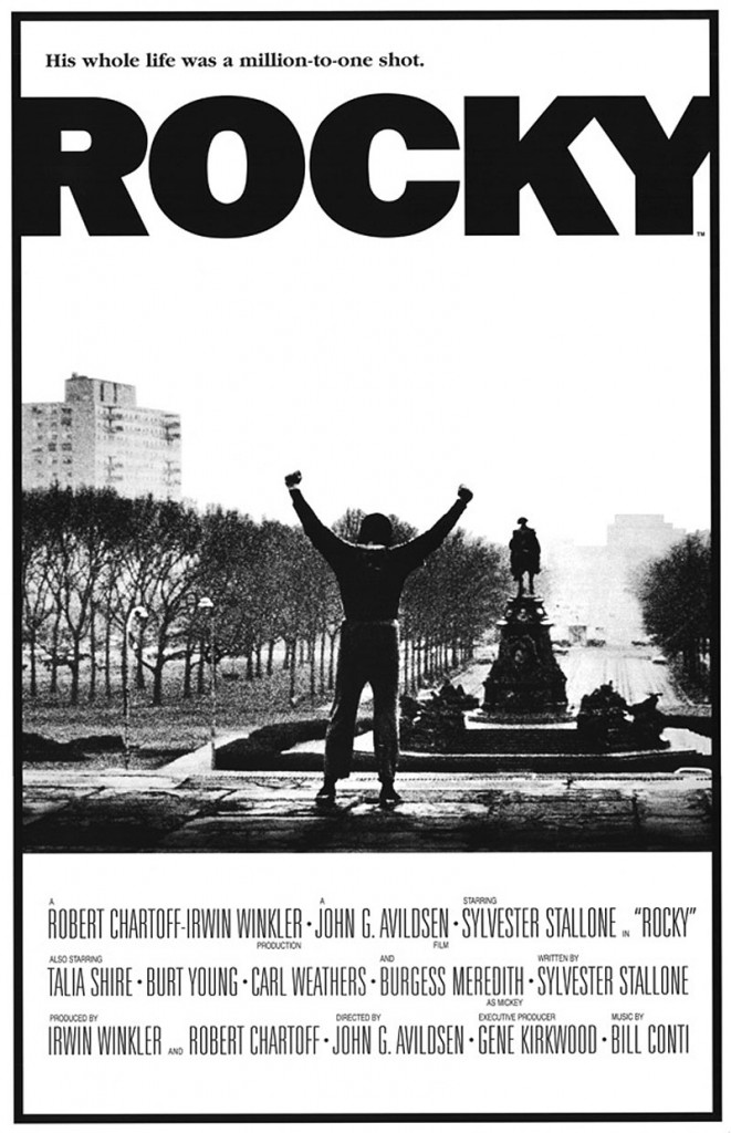 Rocky, the first film in the series, was released in 1976, filmed on location on a shoestring budget.