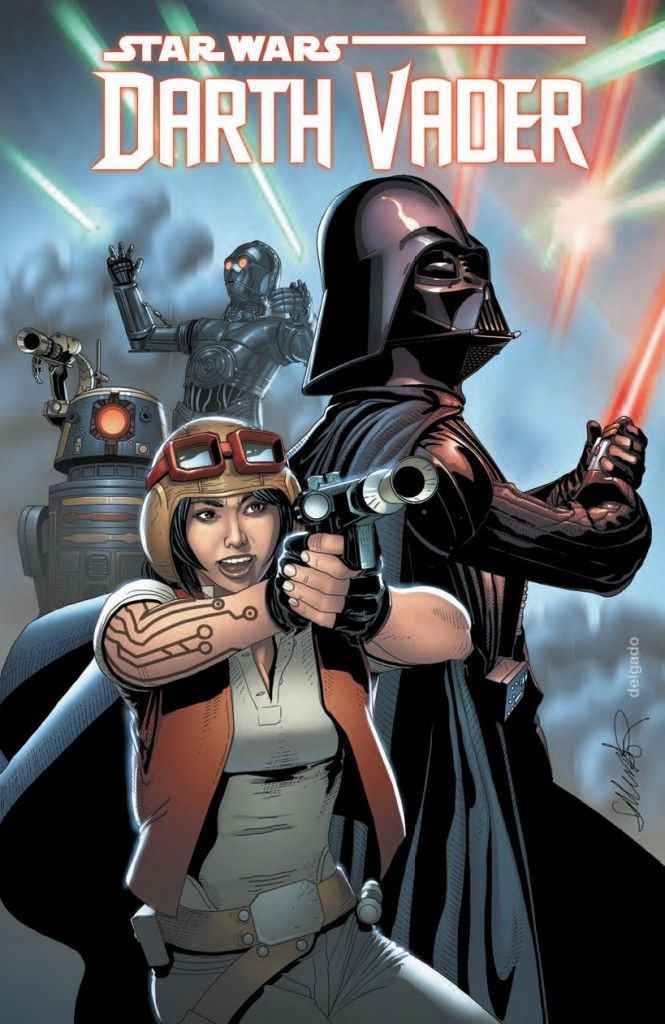 """Shadows and Secrets"" is the second story arc of the Darth Vader comic. Dr. Aphra (pictured above with Vader) and her two assassin droids (in the background) have become instant fan favorites."