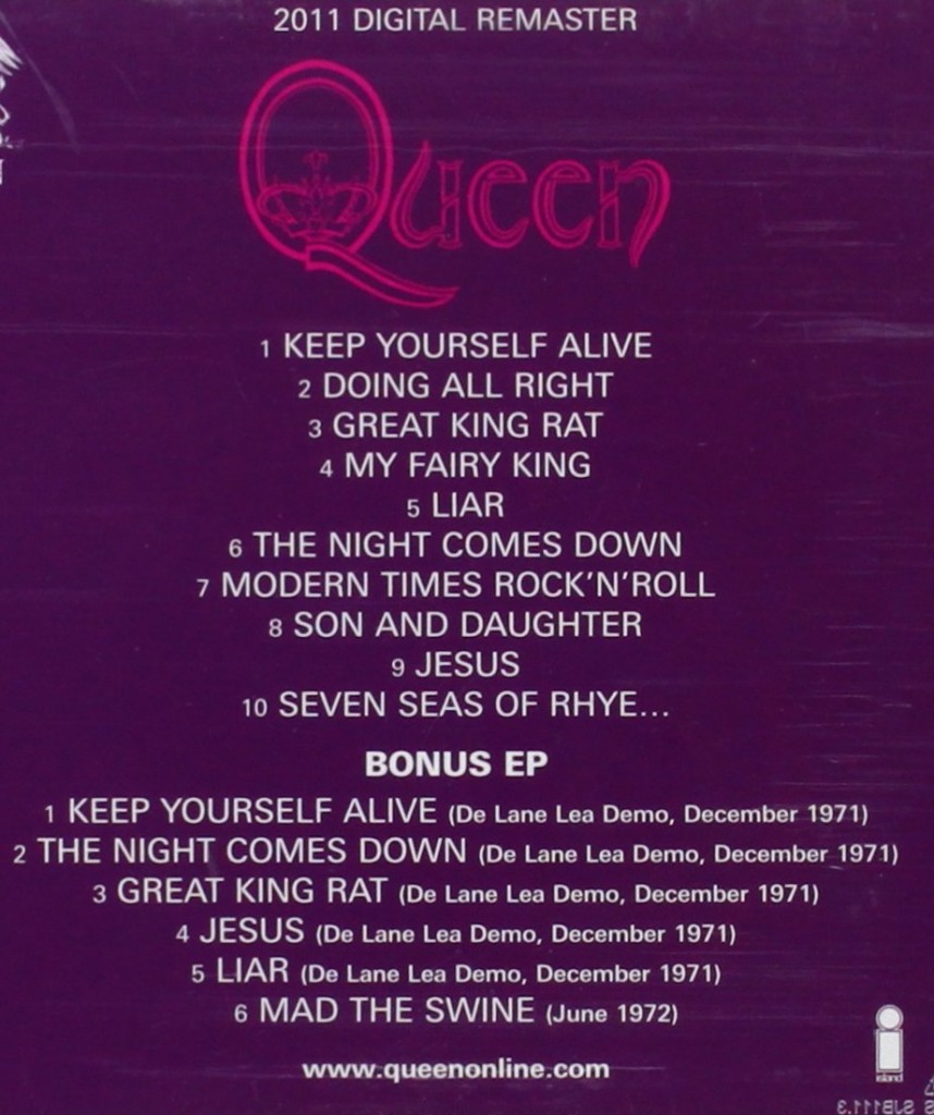 2011 remastered CD features second disc, which is an EP of bonus tracks, primarily the De Lane Lea demos from December 1971.