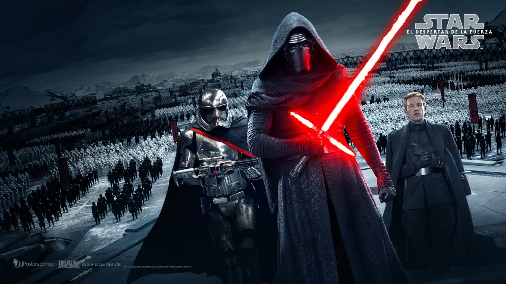 The mysterious villain Kylo Ren, shown with the soldiers of the First Order.