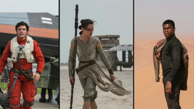The new faces of the Star Wars franchise meet many old favorites. From left to right - Oscar Isaacs as Poe Dameron, Daisy Ridley as Rey, and John Boyega as Finn.