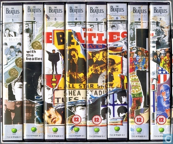 The first home video release of The Beatles Anthology was an eight VHS tape set.