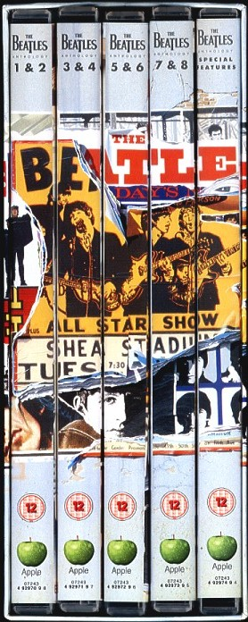The Beatles Anthology was released on DVD in a five-disc set, combining the segments from the VHS release with a new bonus disc.