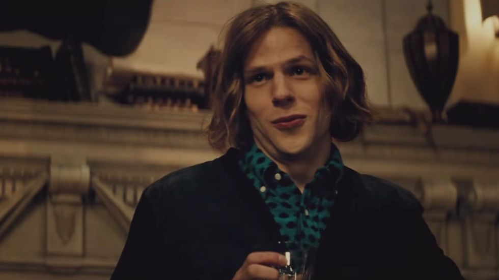 Jesse Eisenberg is an unlikely candidate to portray the evil Lex Luthor, but does a surprisingly good job here.