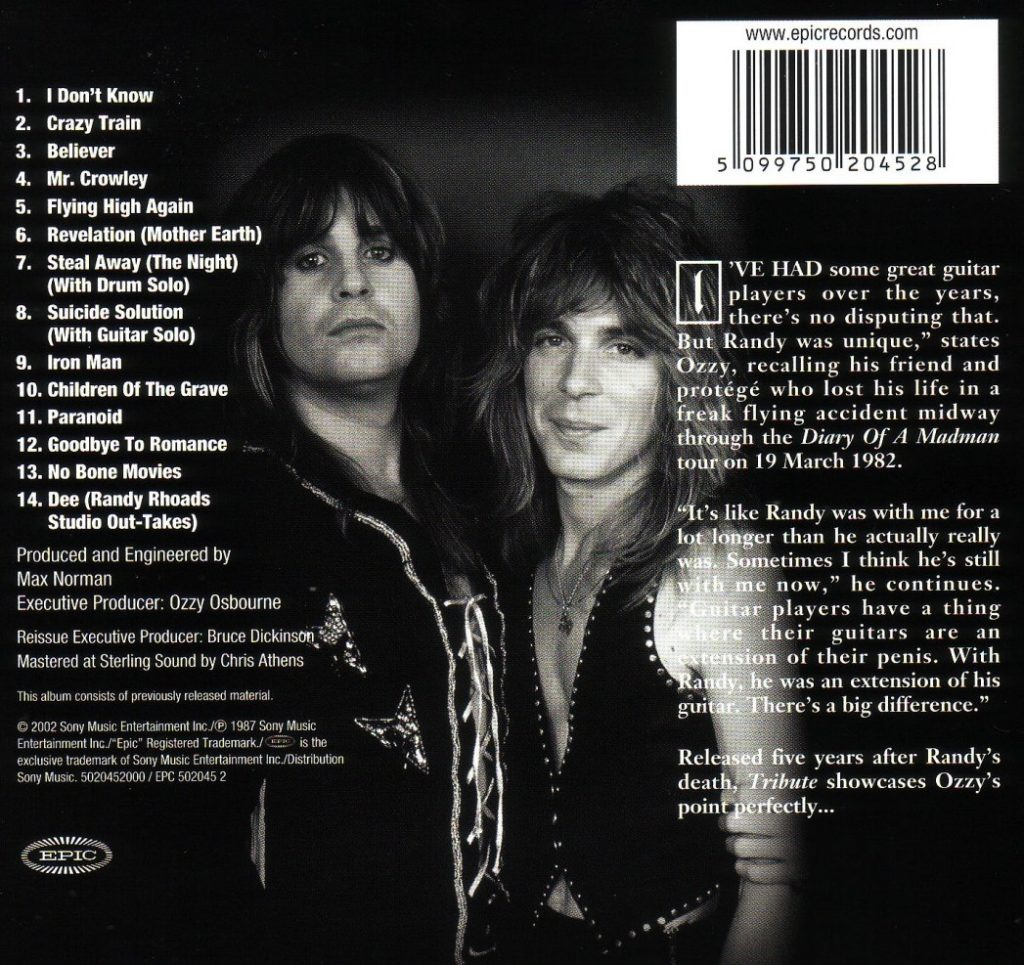 Rear cover of the 2002 CD remastered version.