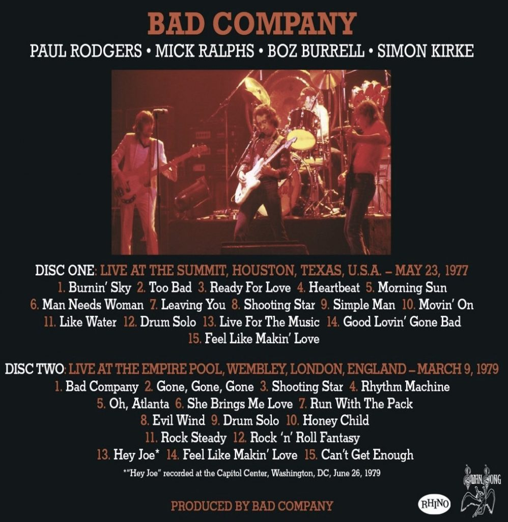 Bad Company's live setlists, as featured on this 2CD set.