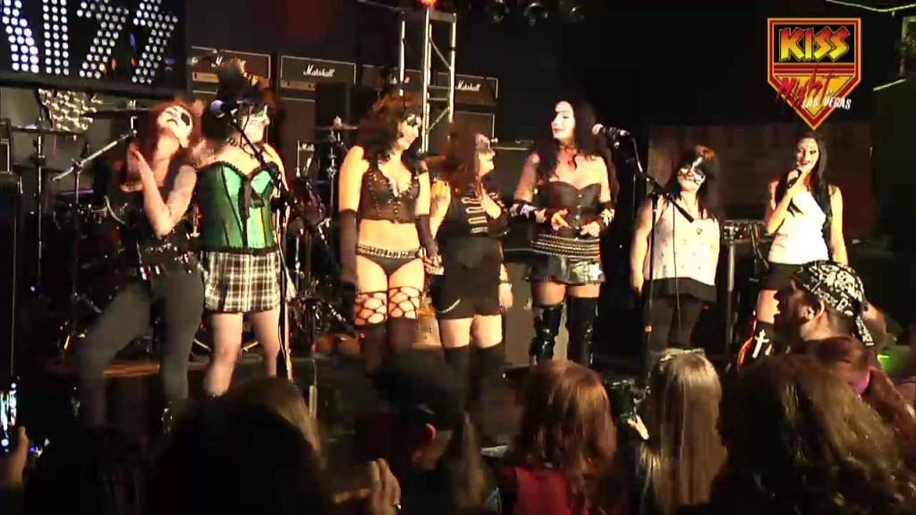 "Of course. no KISS Night in Las Vegas would be complete without mentioning the ""Girls of KISS Kontest!""A $500 prize goes to the winner, and needless to say, the competition is usually quite impressive! (Photo taken from the KISS Night in Las Vegas YouTube Channel)."