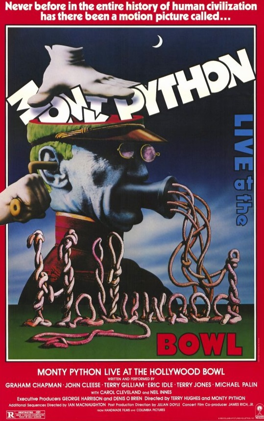 Monty Python Live at the Hollywood Bowl was filmed in 1980, and received a limited theatrical release in 1982. It features live performances of the troupe's best material.